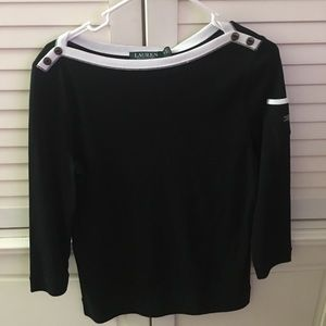 NWT RALPH Lauren Black Knit Top Women's Medium